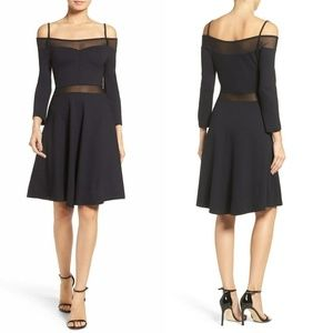 French Connection Dresses - French Connection Black Mesh Fit Flare Dress